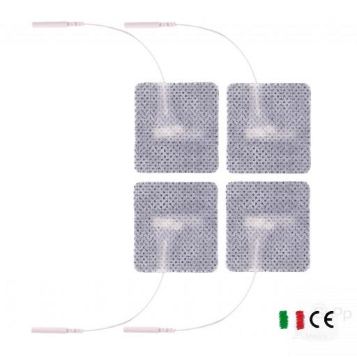 4 Elettrodi adesivi quadrati 5x5cm con filo_spinotto universale compatibili con elettrodi tesmed