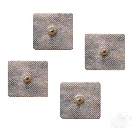 4 Elettrodi adesivi quadrati 5x5cm clip 4mm, Compatibili anche con Dual Shaper e Abs A Round
