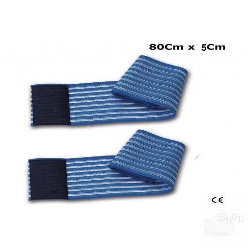 2 fasce elastiche fiab regolazione a strappo lunghezza 80Cm altezza 5Cm per elettrodi elettrostimolazione ionoforesi