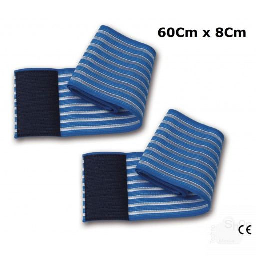 2 fasce elastiche blu universali regolazione a strappo lunghezza 60Cm per elettrodi elettrostimolazione ionoforesi