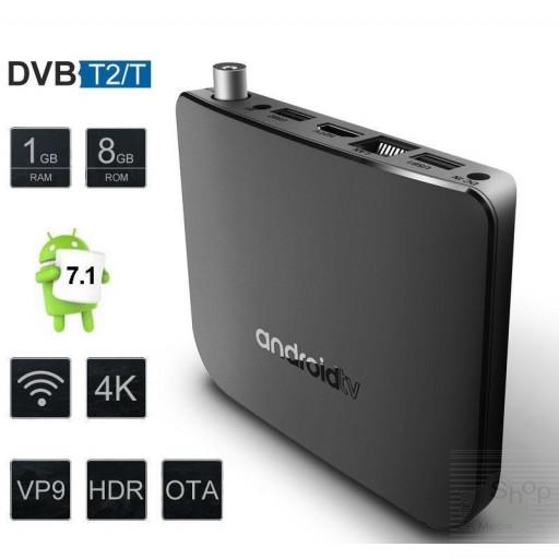 Mini PC Smart TV Box Android 7.1 con Ricevitore Tv Radio DVB-T2 DVR Recorder video registratore Player 4K H.265