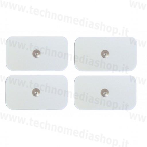 4 Elettrodi adhesive patches in Foam rettangolari 4,5x8cm con clip standard 4mm
