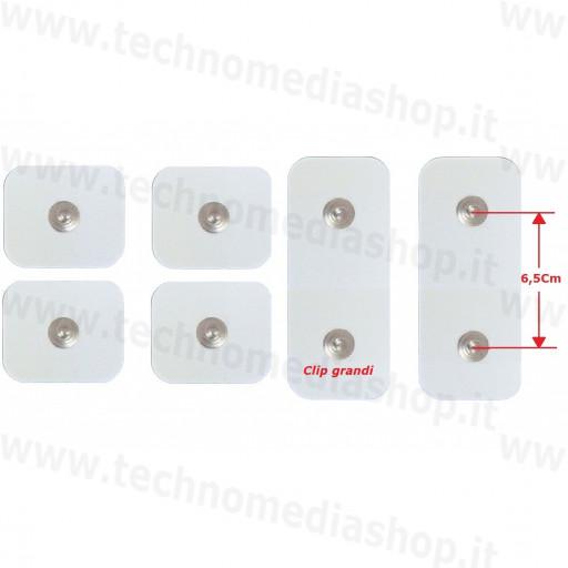 4+2 Elettrodi cerotti adesivi toppe ricambi accessori cintura Abs A Round PRO around Gymform bottone grande 4,4mm