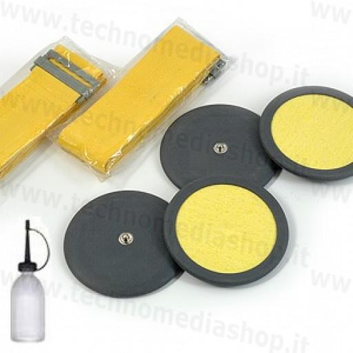 Kit 4 Elettrodi gomma con spugna cellulosa rotondi 7,5cm per elettrostimolatore clip 4mm e fasce elastiche