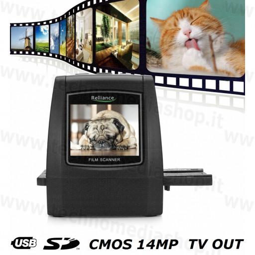 Convertire salvare stampare negativi e diapositive in file foto film scanner Cmos 14MP Slides Negatives