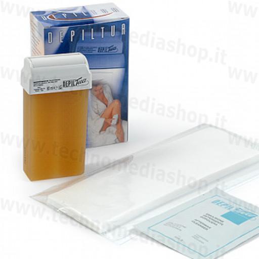 Kit Ricarica Rullo Grande 10 Strisce tnt 1 Busta crema dopo depilazione per depilatore Depiltua