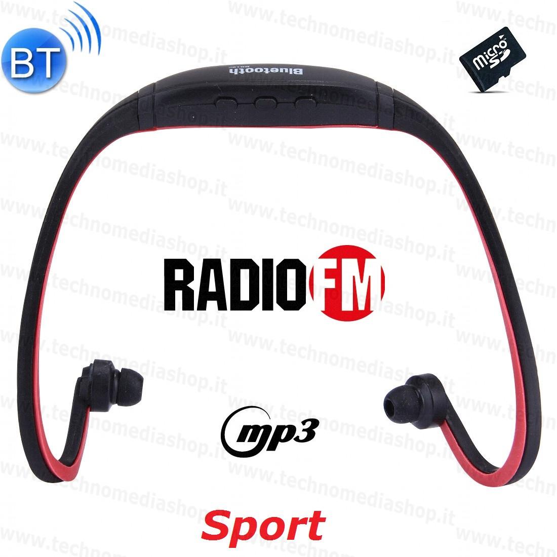 Cuffie auricolari Sport Bluetooth headphones con ricevitore Radio FM mp3  player microSD vivavoce telefonate 70f307bca6bb
