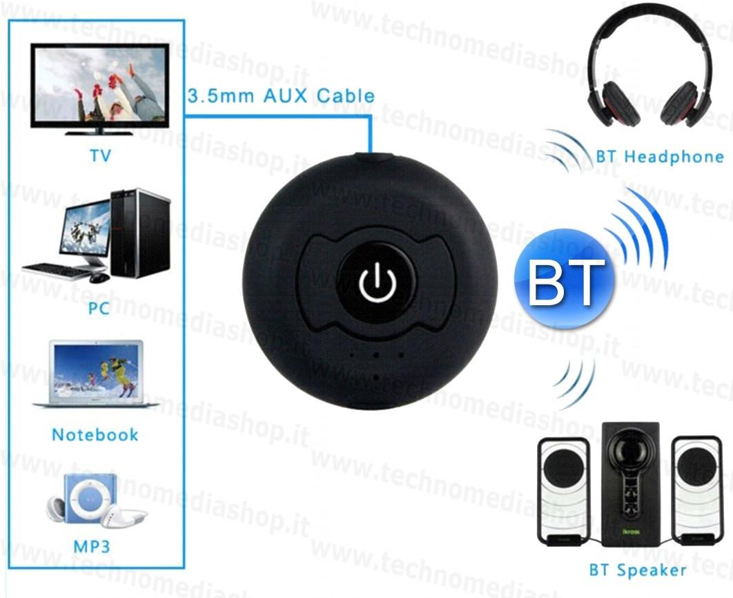 Trasmettitore BlueTooth Audio stereo Transmitter multi point per Tv Mp3  Cuffie con pila litio 5v usb 4c0c14155ac9