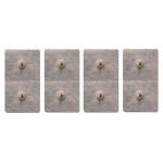 4 Elettrodi adesivi rettangolari 5x10cm monopolari con due clip snap 3,6mm compatibili compex