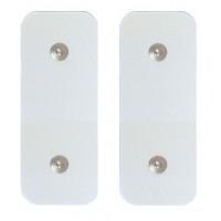 2 Elettrodi adesivi elettrostimolazione rettangolari 5x10cm a doppia clip snap standard 4mm