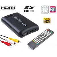 """Mediacenter box multimediale Hdd 2,5"""" sata HDMI Full-HD Mkv Host-Usb Sd Rca Casa Auto 12v 220v"""