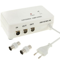 Sdoppiatore Amplificatore T per Antenna TV 1 ingresso 2 uscite 220v con regolazione di guadagno