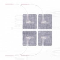4 Elettrodi adesivi quadrati 5x5cm con filo_spinotto universale compatibili con elettrodi a spinotto pin 2mm