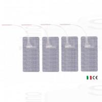4 Elettrodi adesivi cerotti rettangolari grandi 5x10cm per elettrostimolatore con filo spinotto pin tesmed compex