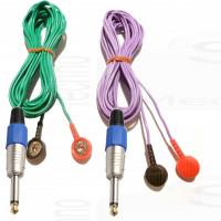 Copia cavi fili per elettrodi ricambi elettrostimolatore con jack spinotto grande 6,35mm e clip snap 4mm
