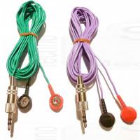 Coppia cavo filo di ricambio per elettro stimolatore spinotto jack 3,5mm stereo bottone snap 4mm ricambi universali