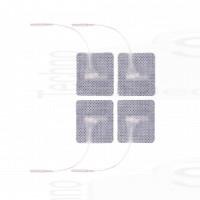 4 Elettrodi adesivi quadrati 4x4cm con filo spinotto pin 2mm cerotti compatibili con elettrostimolatori tesmed compex
