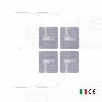 4 Elettrodi adesivi quadrati 4x4cm con filo spinotto pin 2mm cerotti compatibili tesmed compex