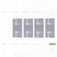 4 Elettrodi adesivi doppi cerotti rettangolari 4,5x8cm monopolari con doppio spinotto 2 fili per elettrostimolatore