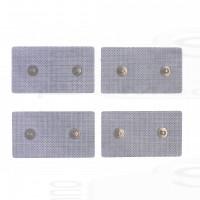 4 Elettrodi cerotti adesivi elettrostimolazione rettangolari 4,5x8cm a due clip bottoni snap 4mm