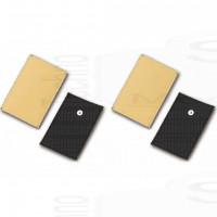 Kit 4 Elettrodi pezze in eco pelle ricambi per elettrostimolatore lunga durata 8x12cm bottone 4mm