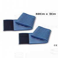 2 fasce elastiche fiab regolazione a strappo lunghezza 60Cm altezza 5Cm per elettrodi elettrostimolazione ionoforesi
