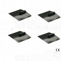 kit 4 elettrodi silicone placca gomma quadrati 50x50mm lunga durata ionoforesi tens elettrostimolazione spinotto grande 4mm